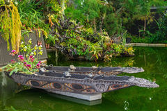 Decorative boat with lots of flowers. Beautiful design in botanical garden Stock Photos