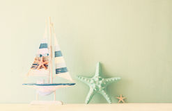 Decorative boat and seashell Royalty Free Stock Photography