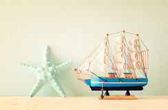 Decorative boat and seashell. Stock Photography
