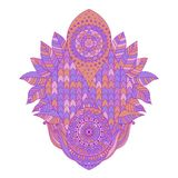 Decorative boho chic element with tiled pattern. Decorative boho chic isolated element with tiled pattern, and leaves, asian arabic ornamental element, purple vector illustration