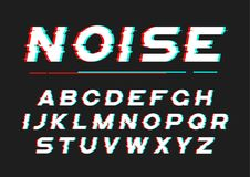 Decorative bold font with digital noise, distortion, glitch effe Royalty Free Illustration