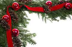 Decorative border with cones ornaments ribbon Royalty Free Stock Photos
