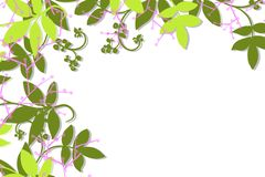 Hand drawn top and left side border of green vines and leaves and lavender berries stock illustration