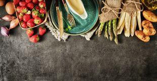 Decorative border of fresh fruit and vegetables royalty free stock photography