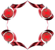 Decorative border made of red ribbon swirls Stock Image