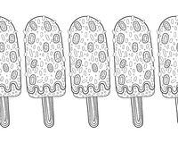 Decorative border with patterned ice cream for decoration, coloring, scrapbooking Royalty Free Stock Photo