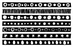 Decorative border patterns collection in black over white Royalty Free Stock Images
