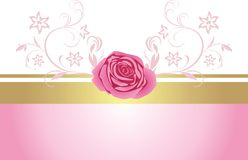 Decorative border with pink rose for design Royalty Free Stock Photo