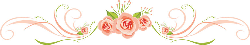 Decorative border with pink roses for greeting card design Stock Image