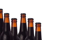 Decorative border of sealed cold dark beer bottles with porter beer and water drops isolated on white background. Decorative border of sealed cold dark beer Stock Photos