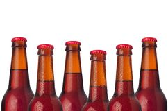 Decorative border of sealed lager beer bottles isolated on white background. Design concept for brewing industry. Decorative border of sealed lager beer bottles stock image