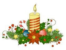 Decorative border from a traditional Christmas objects. Vector illustration. Decorative border from a traditional Christmas items. Vector illustration. Cartoon Stock Image