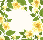 Decorative Border With Yellow Roses Stock Photos