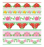 Decorative borders with flowers dahlia - vector seamless ornaments stock illustration