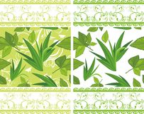 Decorative borders with green leaves Stock Photos