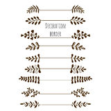 Decorative borders. Hand drawn vintage border set with leaves, branches. Stock Image