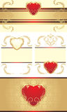 Decorative borders with hearts for festive cards Royalty Free Stock Image