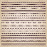 Decorative borders in retro style - vector set. Vector collection of different monochrome calligraphic borders Royalty Free Stock Images