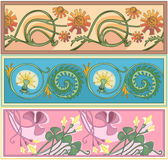 Decorative borders. Set of art nouveau borders in frames royalty free illustration