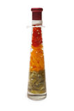 Decorative bottle with color slices of bulgarian pepper Stock Photo