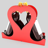 Decorative bottle stand for wine in the form of a heart on a wedding theme. 3D illustration. Stock Photos