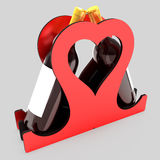 Decorative bottle stand for wine in the form of a heart on a wedding theme. 3D illustration. Royalty Free Stock Photography