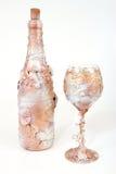 Decorative bottle of wine and wineglasse royalty free stock photos