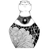 Decorative bottles hand-drawn, in zentangl style. Vector graphics. Black and white. Decorative bottles hand-drawn, in zentangle style. nMonochrome color. Vector Vector Illustration