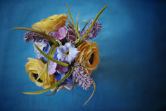 Decorative bouqet. Decorative unique bouquet on blue background Stock Photo