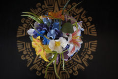 Decorative bouquet on black background. Decorative bouquet on black and gold background Royalty Free Stock Photo