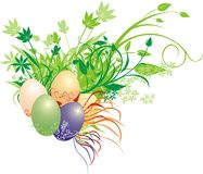 Decorative bouquet and eggs Stock Images