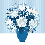 Decorative bouquet in vase. Seamless striped wallpaper on background. Vector illustration Royalty Free Stock Photos