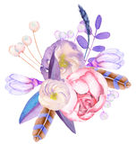 A decorative bouquet with the watercolor floral elements: flowers, leaves, feathers and branches stock illustration