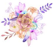 A decorative bouquet with the watercolor floral elements: flowers, leaves, succulent, feathers and branches. On a white background, for a greeting card, a Stock Photos