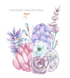 A decorative bouquet with the watercolor floral elements: succulents, flowers, leaves and branches Stock Photo