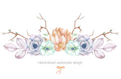 A decorative bouquet with the watercolor floral elements: succulents, flowers, leaves and branches Royalty Free Stock Images