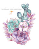 A decorative bouquet with the watercolor floral elements: succulents, flowers, leaves and branches Royalty Free Stock Photo