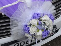 Decorative bouquet on wedding car Royalty Free Stock Photo