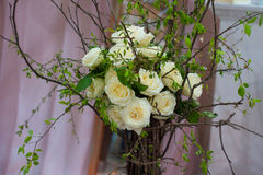 Decorative bouquet of white roses for wedding Royalty Free Stock Images