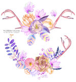 A decorative bouquets with the watercolor floral elements: succulents, flowers, leaves, feathers, arrows and branches Stock Image