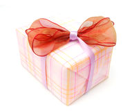Decorative bow gift. Making a bow gift in holiday Stock Photo