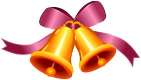 Decorative bow with two golden bells Stock Photo