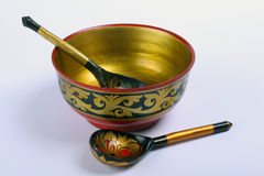 Decorative bowl and spoons Royalty Free Stock Image