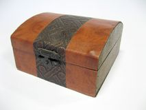 Decorative box. Little decorative box, imitation leather and metal Royalty Free Stock Image