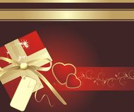 Decorative box with bow and hearts. Background Royalty Free Stock Photography