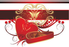 Decorative box with candies, bow and ornament Stock Image