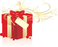 Decorative box with red bow Royalty Free Stock Images
