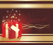 Decorative box with snowflakes and red bow. Card Royalty Free Stock Photography
