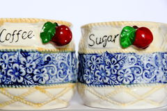 Decorative boxes for coffee and suger Stock Images