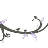 Decorative branch with birds Stock Images